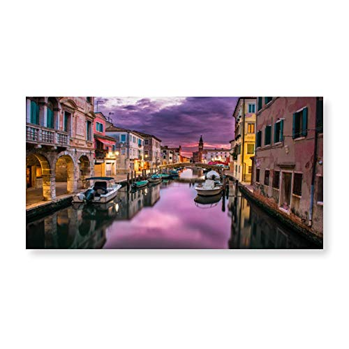 Cheyan Canal Venice Italy Water River Canvas Prints Wall Art Paintings Home Decor Stretched Framed Ready to Hang 8x16 Inches