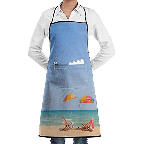 LOSNINA Delantal de cocina impermeable para hombres delantal de chef para mujeres restaurante de jardinería barbacoa cocinar hornear,Paraguas en la playa Tiempo libre Atracciones turísticas Foto