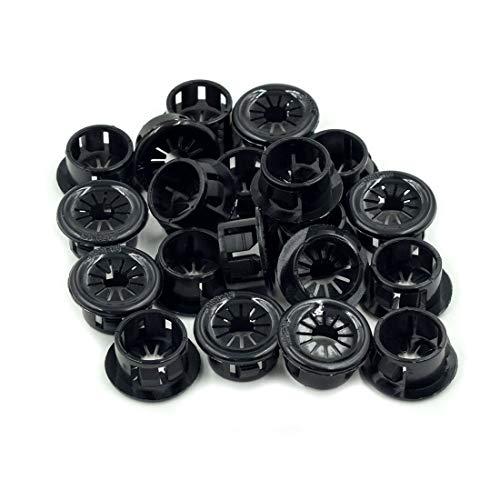TUOREN 16mm Dia Plastic Insulation Cable Snap Bushing Grommet Protector Black-20pcs