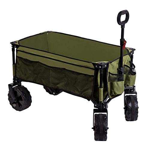 Timber Ridge Folding Camping Wagon/Cart - Collapsible Sturdy Steel Frame Garden/Beach Wagon/Cart
