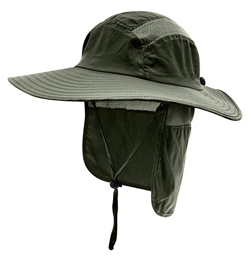 Home Prefer Mens UPF 50+ Sun Protection Cap Wide Brim Fishing Hat with Neck Flap (Army Green)