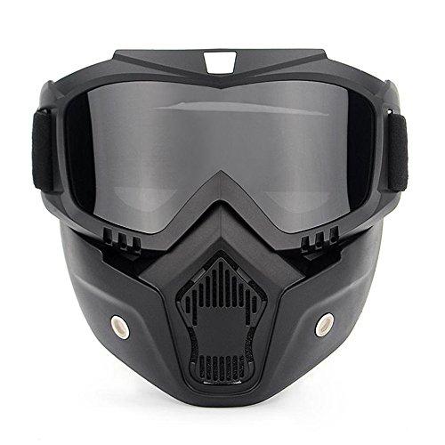 Ubelly Paintball gafas marca, motocicleta gafas con desmontable máscara, máscara de Airsoft Gafas de seguridad UV400protección, Cool casco gafas gris