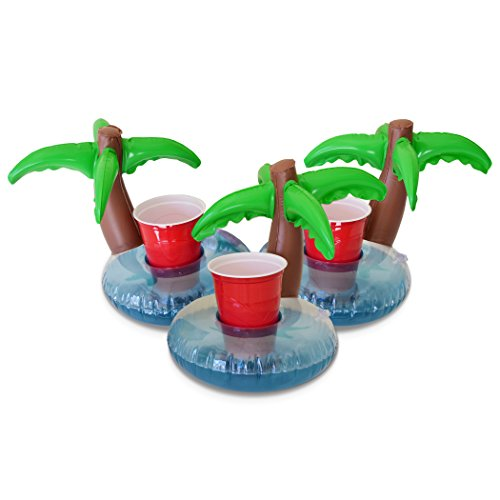 GoFloats Inflatable Palm Island Drink Holder – 3 Pack