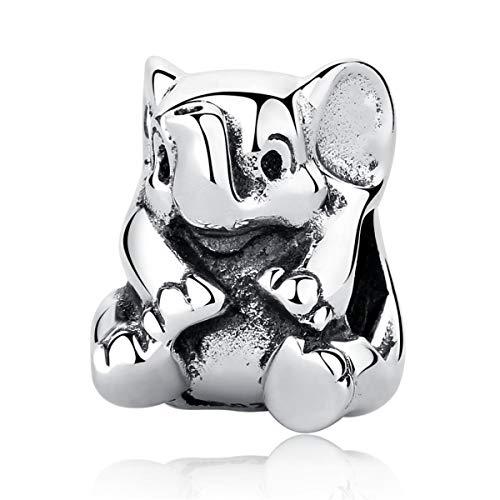 Pendente in argento sterling 925, pendente, a forma di elefante, per braccialetti Pandora e altri braccialetti con charm