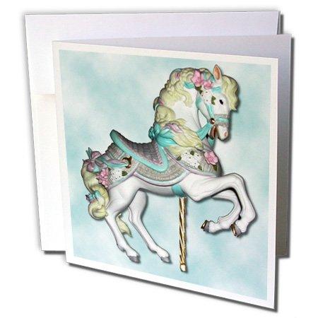 3drose carrousel paard in blauw - wenskaarten, 15,2 x 15,2 cm, set 12 (GC 1186 2)