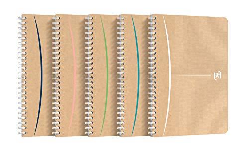 Oxford Touareg Notizbuch, A5, kleine Karos, 5 mm, 100 Seiten, Recyclingpapier, Spiralbindung, Kraftpapier, Farbe zufällig