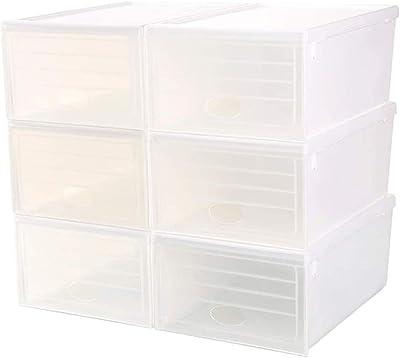 HEMFV 6 Pacchetti Shoe Storage Box impilabile, in plastica Trasparente del Pattino dell'organizzatore della Scarpa da Tennis di Sicurezza for Donne degli Uomini Scarpe, Scarpe Contenitore Trasparente