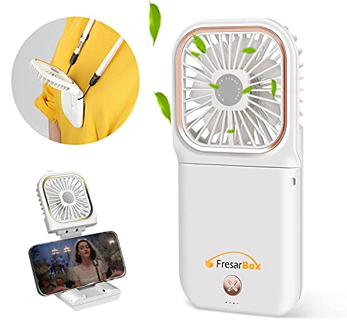 4-IN-1 Portable Neck Fan & Folding Electric Fan & 3000mAh power bank & Phone Stand, Mini Personal Handheld Fan , Small Desk Fan with USB Rechargeable Battery Operated, for Travel Office
