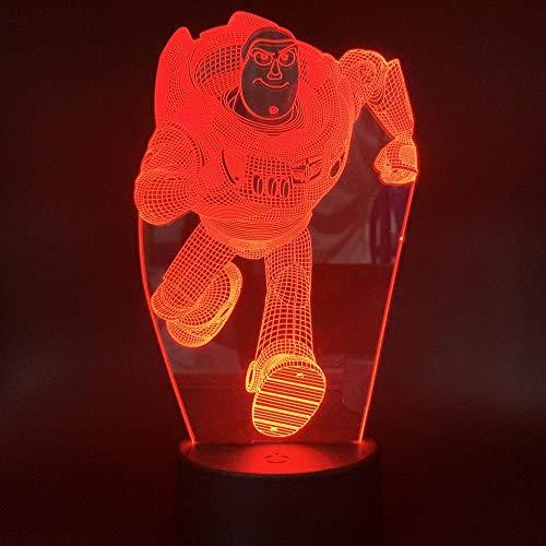 Luz de noche LED con ilusión 3D, interruptor táctil de 7 colores Lámpara de escritorio USB para Navidad o decoraciones casa Control remoto de robot