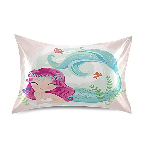 Dalzium Cute Mermaid Satin Pillowcase for Hair and Skin, Ocean Mermaid Girl Silk Pillow Case with Envelope Closure, Standard Size 20x26 inches, Pink, 1 PC
