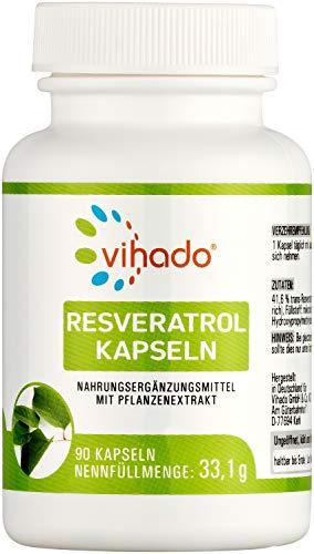 Vihado Resveratrol Kapseln – vegane Kapseln mit Resveratrol hochdosiert (150 mg / Kapsel) – vielseitiges Nahrungsergänzungsmittel ohne künstliche Zusatzstoffe – 90 Kapseln