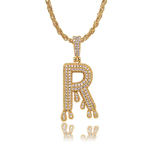 Ixkbiced Crown Initial AZ Collar Iced out Monogram Dripping Lucky Alphabet Colgante Noble Edition