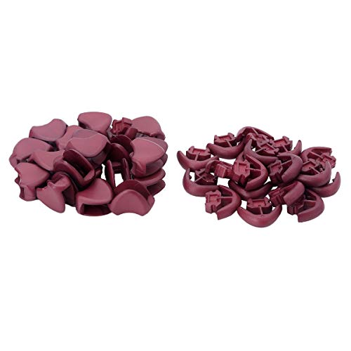 JanJean 20Pcs Plastic Zipper Pulls Cord Lock End Paracord Clips Buckle Zipper Fixer for Backpack Lanyard Rope Reddish Brown One Size