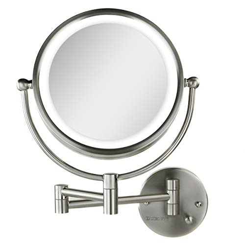 Ovente Wall Mounted Vanity Makeup Mirror 8.5 Inch with 7X Magnification and Natural LED Lights, Double-Sided with Hardwired Electrical Connection, Distortion Free, Nickel Brushed (MPWD3185BR1X7X)