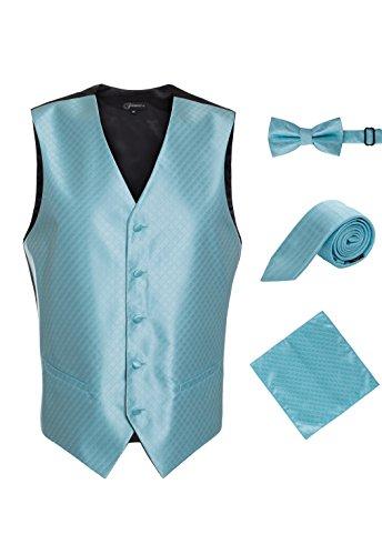 Ferrecci Men's 4 Piece Turquoise Diamond Pattern Satin Tuxedo Vest Set with Bowtie, Neck Tie and Hanky (Medium)