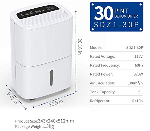 WQSFD Dehumidifier,9 Gallons/Day Spaces 1500 Sq,Sleep Mode,for Damp, Mould, Moisture in Home, Kitchen, Bedroom, Caravan… 5 - Our dehumidifier removes up to 30 pints (2012 DOE Standard) of water a day and adjust humidity from 35% to 85%, Perfect for use in Home, Basement, Cellar, Garage, Bedroom, Bathroom. Please note: depending on the climate in your area, as well as room size, you may need to purchase a larger unit for best effect. - This Energy Star certified dehumidifier is fit to quickly and effectively absorb moisture with minimal energy consumption in medium to large rooms, without racking up your energy bill. 48 dB peak sound so that you hardly notice it's there. In general, 50 decibels is probably just as loud as normal conversation. - Adjust to the ideal dehumidification setting, then let it run its continuous 24-hour cycle until the tank is full, it will automatically shut-off (Water Tank Capacity 4L) . If you don't have time, you can choose continuous drainage mode. You can use the gravity drain hose connection to empty water into your sump pump or floor drain, eliminating the need to empty the collected water by hand every few hours.