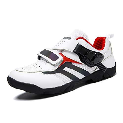 BHC Zapatos de Bicicleta con Suela de Caucho y Triple Tira de Velcro Unisex,Blanco,36