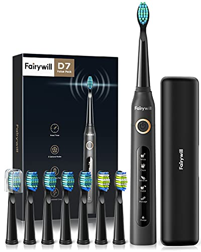 Fairywill Electric Toothbrush Powerful Sonic Cleaning, ADA Accepted Rechargeable Toothbrush with Timer, 5 Modes 8 Brush Heads, 4 Hr Charge Last 30 Days Whitening Toothbrush for Adults and Kids Black