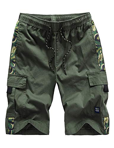 APTRO Men's Cargo Shorts Relaxed Fit Multi-Pockets Camo Casual Shorts Army Green L