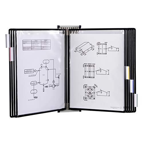 TARIFOLD Expositor de pared A4 para catálogos con fijación y 10 fundas PVC, color negro, TAA414107