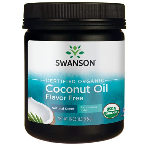 Swanson Certified Organic Flavor Free Coconut Oil 16 Ounce (1 lb) (454 g) Solid Oil