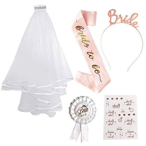 SPECOOL Sposa di Essere Bride to Be Satin Sash And Veil di Addio al Nubilato Gadget Sposa Fascia Tatuaggi Gallina Do Accessori per Addio al Nubilato Decorazione per Addio al Nubilato (Rose Gold 1)