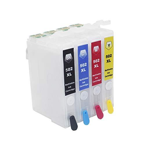 Inkway 502XL Nachfüllbare Tintenpatrone, Ersatz für Epson 502 oder 502XL, kompatibel mit Epson Expression Home XP-5100 XP-5105 XP-5115 Workforce WF-2860D WF-2860DWF 2865DWF Drucker