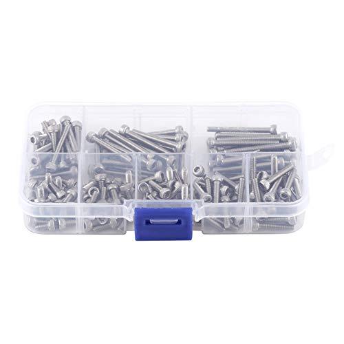 Walfront 160 piezas 304 tornillos de cabeza hexagonal de rosca métrica de acero inoxidable con caja de almacenamiento, M3 x 6/8/10/12/16/20/25/30 mm
