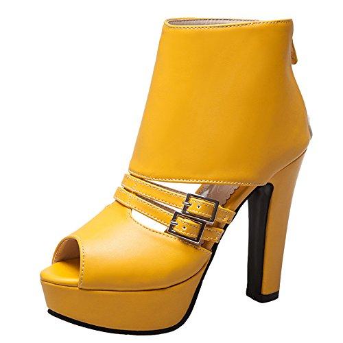 Show Shine Women's Instep Buckles High Heel Platform Summer Boots (7.5, Yellow)