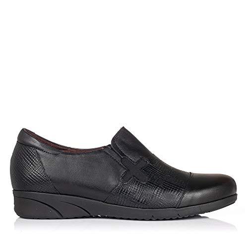 PITILLOS 2973 Zapato Mocasin Combi Piel Mujer Negro 39