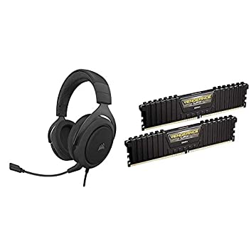 Corsair HS60 PRO - 7.1 Virtual Surround Sound Gaming Headset w/USB DAC - Discord Certified - Carbon & Vengeance LPX 16GB  2x8GB  DDR4 DRAM 3000MHz C15 Desktop Memory Kit - Black