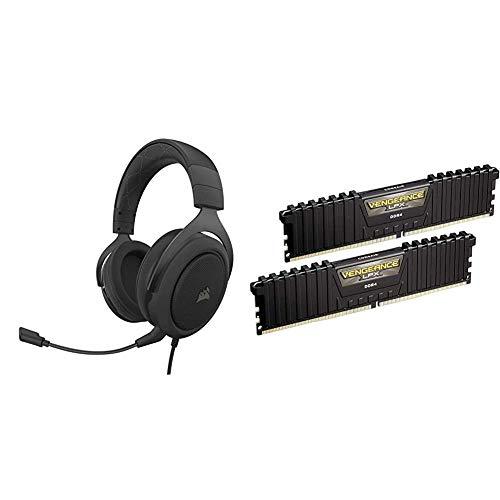Corsair HS60 PRO - 7.1 Virtual Surround Sound Gaming Headset w/USB DAC - Discord Certified - Carbon & Vengeance LPX 16GB (2x8GB) DDR4 DRAM 3000MHz C15 Desktop Memory Kit - Black