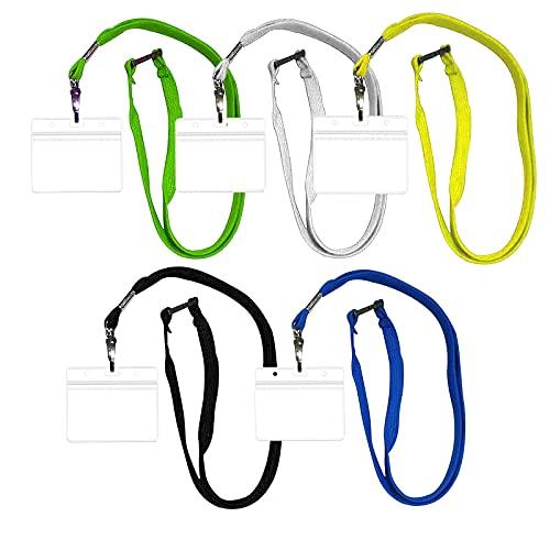 5 fundas transparentes para tarjetas de identificación con cordón, 5 colores, soporte para tarjetas de identificación, resistente al agua, para negocios, exposiciones, oficina y escuela