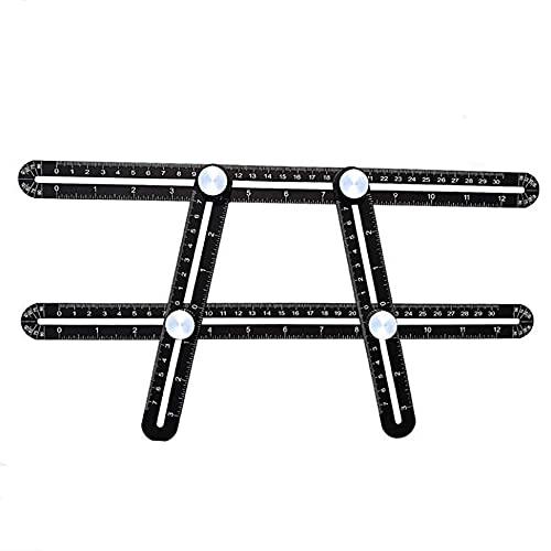 QZH Regla de plástico plegable, regla multifuncional, aleación de aluminio, plegable, localizador de 4 esquinas (negro, 30 cm)