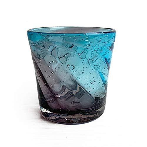 冷茶グラス コップ カップ 琉球ガラス グラス 美ら海ロックグラス (パープル×ブルー)