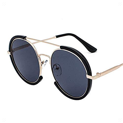 LAMZH Las Gafas de Sol de Moda de la Moda de Gafas de Sol se Pueden equipar un Marco Redondo Grande con Gafas de Sol Retro de miopía UV Vasos, (Color : Black Gray)