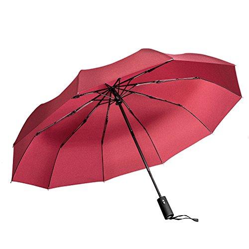 """Vanwalk viaggio Umbrella - """"Dupont Teflon"""" 10 rinforzato con resina vetroresina Ribs - Auto Open per chiudere, robusto, portatile e leggero per un facile trasporto, antivento (rosso)"""