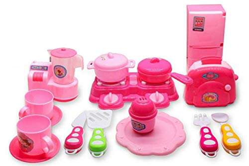 Forever Kidzz Kitchenware, Kitchen Set Toys for Kids, Modern Kitchen Set with Cook top, Refrigerator, Microwave Oven Mixer Grinder, Multicolor 16Pcs