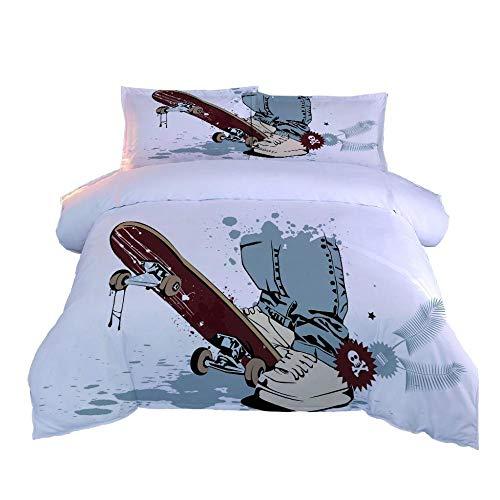 JCKSimpleLife Bettwäsche Set Skater 3D Druck Wende Bettbezug Set Faltenfreie Bettdecke Bettbezug Sets Mit 2 Kissenbezügen Und Reißverschluss 140X200Cm