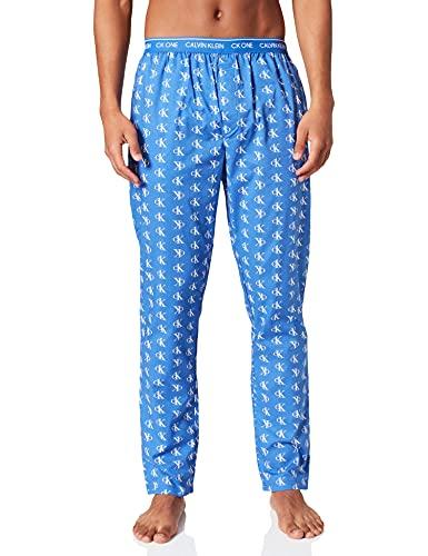 Calvin Klein Sleep Pant Pantaln de Pijama, Logotipo Escalonado_Azul Violeta, M para Hombre