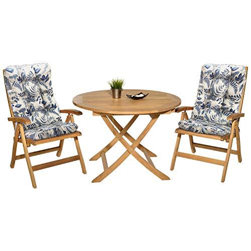 Pack 2 Cojines con Respaldo para Sillas jardín. Conjunto de 2 Cojines para sillones de Interior y Exterior. Cojin para Silla con Respaldo, Cojines Acolchados para sillas Comedor. (Ramas)