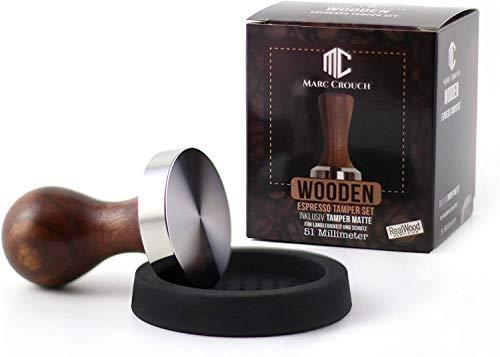 Marc Crouch 51mm Kaffee Tamper Set aus hochwertigem Buchholz und Edelstahl inkl. Silikonmatte 58mm + 3 Stencil/Schablonen – Intensiver Caffee Genuss Dank Espresso Stempel (51mm)
