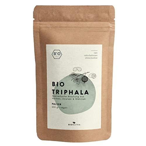 BIONUTRA® Triphala-Pulver Bio 250 g, Pulver von Haritaki, Amalaki, Bibhitaki aus kontrolliert biologischem Anbau, faire Produktion aus Sri Lanka
