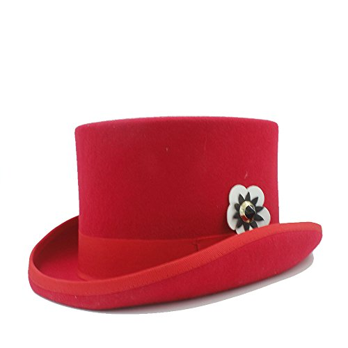 Best Choise Sombrero de Copa Fedora para Mujer/Hombre Sombrero de bolita de Fieltro Steampunk Gorras de Boda (Color : 2, Size : 57CM)