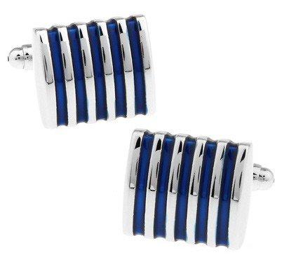 Gemelolandia | Boutons de Manchette Blue Stripes in steel | Pour Hommes et Garçons | Cadeaux Pour Mariages, Communions, Baptêmes et Autres Événements
