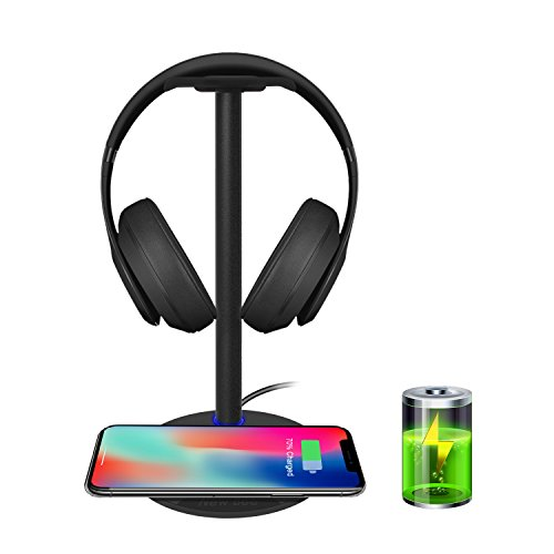 Wireless Charging with Headphone Stand New Bee Sturdy 2-in-1 Headset Holder & Wireless Charger Pad for iPhone 8/8 Plus/X Samsung S8/S8 PlusS7/S7 Edge/S6/S6 Edge with LED Indicator (Black)
