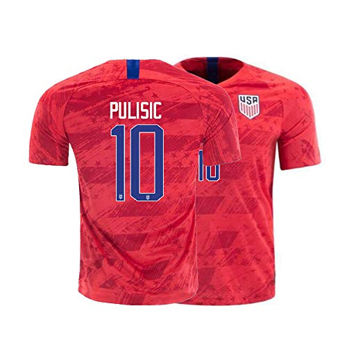 Men's Pulisic Jerseys 10 National Team 2019/20 Athletics Adult Sports Soccer Shirts (X-Large) Red