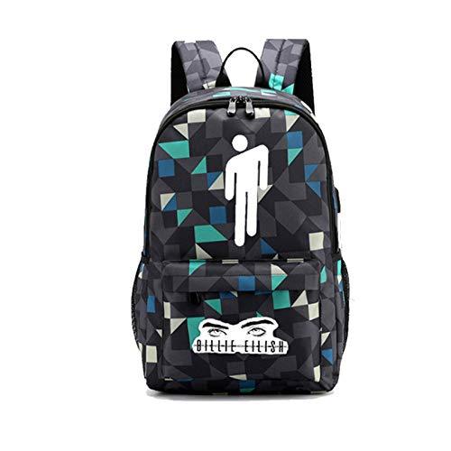 Daypacks Billie Eilish 3D Digital Printing Knapsack Spacious Space Rucksack Haversack Suitable for Boys and Girls Backpacker