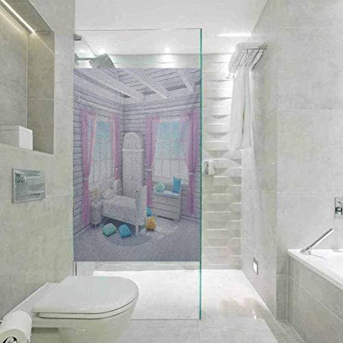 Antistatischer Glasaufkleber, bunte Fensterfolie, Fantasy-Traumschlafzimmer im Holzhaus, ruhiger Landhausmorgen, statische Glasfolie für Badezimmer, Büro, Konferenzraum, Wohnzimmer, 60 x 120 cm