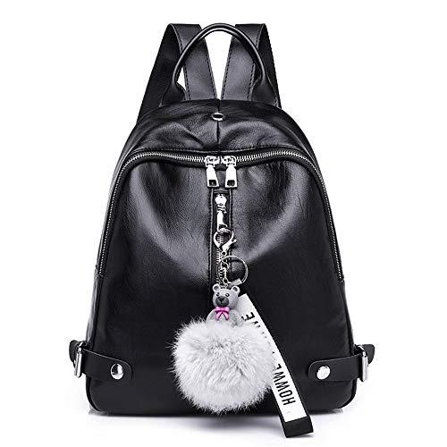 Eenvoudig en praktisch, casual, modieus, van zacht leer, kleine rugzak voor dames, eenvoudig, casual, 11 inch, 25 × 30 cm, zwart.